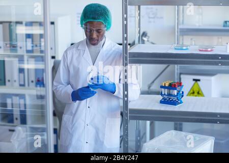 Portrait moyen horizontal d'un scientifique afro-américain en uniforme de protection travaillant en laboratoire