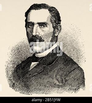 Portrait de Modesto Lafuente et de Zamaloa (Rabanal de los Caballeros 1806 - Madrid 1866). Journaliste, historien et écrivain satirique espagnol, il a utilisé Banque D'Images