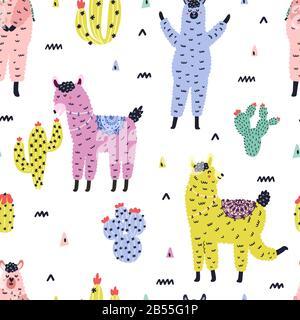 Motif sans couture avec mignons lamas et succulents dans un style scandinave Banque D'Images