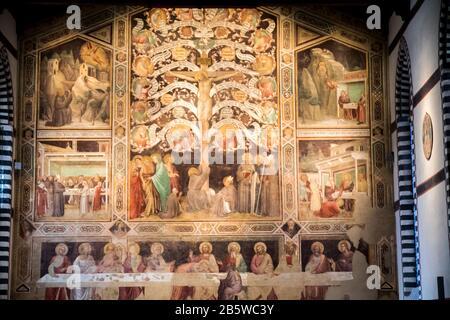 La dernière Cène et l'arbre de vie fresque dans la Chapelle Pazzi de la Basilique de Santa Croce à Florence, Italie Banque D'Images