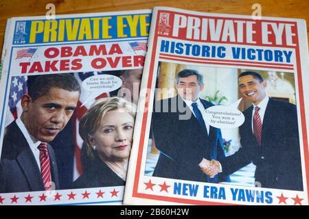 Première couverture du titre du magazine Private Eye « Obama prend Le Relais » avec Hillary Clinton en janvier 2009 Londres Angleterre Royaume-Uni Banque D'Images