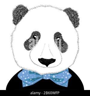 Illustration tirée à la main d'une tête de panda avec une cravate. Joli portrait de mode isolé sur fond blanc. Banque D'Images