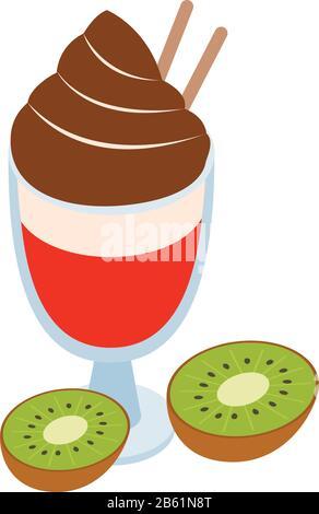Icône dessert multicolore, style isométrique Banque D'Images