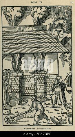 Fusion de métaux Georgius Agricola de re metalica, traduit en anglais à partir de la 1ère édition latine de 1556, imprimée à Londres par Le magazine Mining en 1912