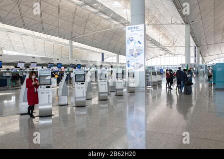 Hong Kong, Chine : 06 Mars 2020. L'aéroport international de Hong Kong est vide car Cover-19 prend son péage sur l'industrie du voyage Jayne Russell/Alay stock image