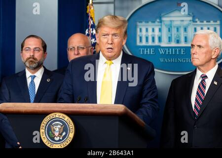 Washington, États-Unis. 9 mars 2020. Le président Donald Trump s'exprime à la Conférence de presse du Groupe de travail sur le coronavirus. Crédit: Sopa Images Limited/Alay Live News