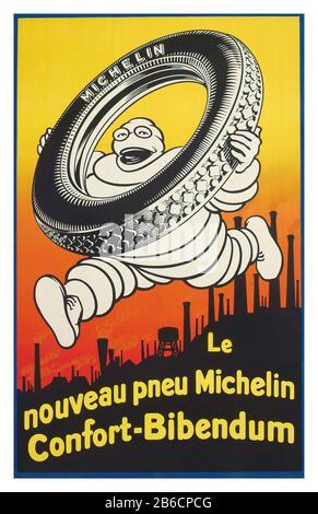 AFFICHE MICHELIN 1926 'LE NOUVEAU PNEU MICHELIN CONFORT-BIBENDUM' lithographie aux couleurs, 1926, imprimée par Bédos et Cie., Paris Banque D'Images
