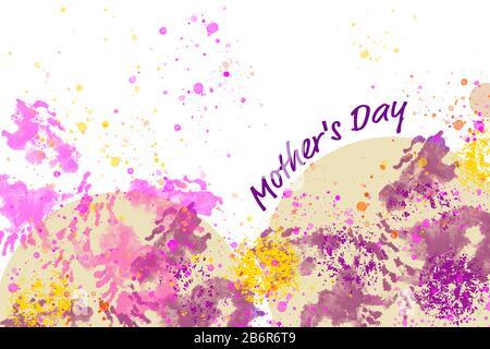 Illustration du jour de la mère avec des tons colorés en rose, jaune violet et orange sur un fond blanc. Banque D'Images