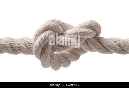 Corde avec nœud isolé sur blanc Banque D'Images