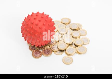 Modèle Coronavirus & nouvelle livre £ pièces Sterling. Pour ce qui est des effets de Covid-19 sur l'économie britannique, la pandémie de coronavirus frappe les entreprises britanniques, le commerce et les salaires Banque D'Images
