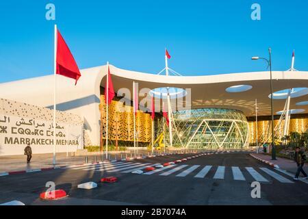 Maroc, Marrakech-Safi (Marrakech-Tensift-El Haouz), Marrakech. Terminaux de l'aéroport de Marrakech Menara. Banque D'Images