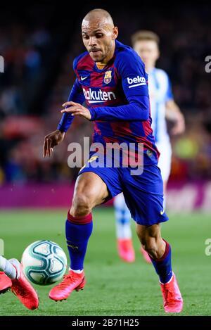 Barcelone - MAR 7: Martin Braithwaite joue au match de la Liga entre le FC Barcelone et Real Sociedad de Futbol au stade Camp Nou le 7 mars, Banque D'Images