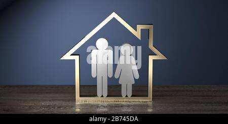 Forme de maison, couple - immobilier / concept d'assurance - rendu tridimensionnel Banque D'Images