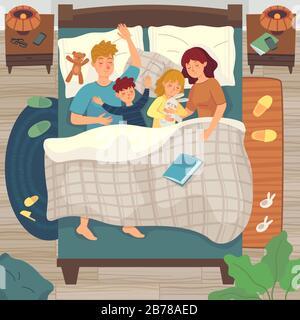 Les enfants dorment dans le lit des parents. CO-dormir avec l'enfant. Papa, maman et les enfants dorment ensemble, endormi jeune garçon et fille illustration vectorielle Banque D'Images