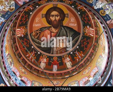 La murale de Jésus-Christ sur le dôme de la cathédrale Saint Mena à Héraklion, Crète, Grèce.