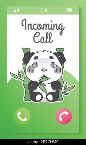 Écran d'application mobile pour les enfants d'appels entrants avec personnage de caricature kawaii. Application smartphone. Acceptez et refusez les boutons d'appel avec le joli panda Banque D'Images