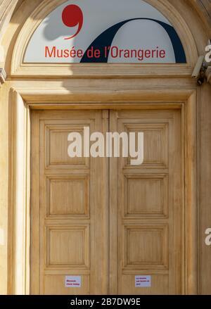 Le Musée de l'Orangerie de Paris a fermé ses portes à cause du Coronavirus Banque D'Images
