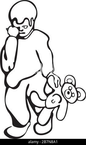 un garçon triste avec un ours en peluche Banque D'Images