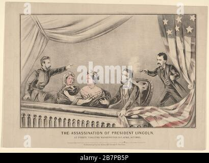 L'assassinat du président Lincoln au Ford's Theatre, Washington D.C., 14 avril 1865, 1865. Banque D'Images