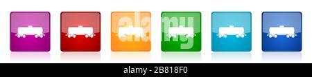 Jeu d'icônes de wagon à carburant, former des illustrations vectorielles carrées brillantes colorées en 6 options pour la conception de sites Web et les applications mobiles Banque D'Images
