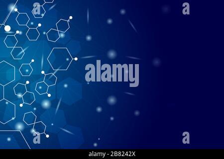 Fond de science de gradient bleu avec forme hexagonale, effet brillant et espace de copie pour le texte du message.