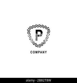 Modèle de déisgn avec logo alphabétique lettre P. Concept de logo de compagnie d'assurance isolé sur fond blanc. Illustration du panneau de protection géométrique. Banque D'Images