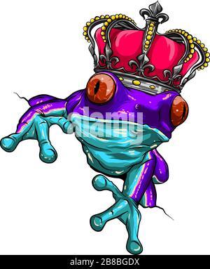 La grenouille et la couronne représentent le vecteur de prince grenouille Banque D'Images
