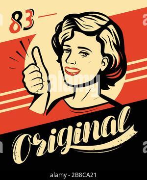 Affiche rétro avec belle fille ou jeune femme. Illustration vectorielle Banque D'Images