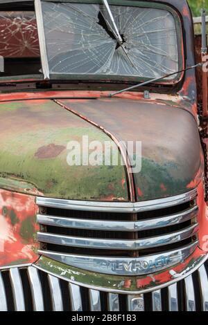 Capot d'un vieux camion de jonque dans un jardin de jonque Banque D'Images