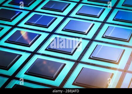 Concept de technologie informatique quantique avec puces de processeur de rendu tridimensionnel intégrées Banque D'Images