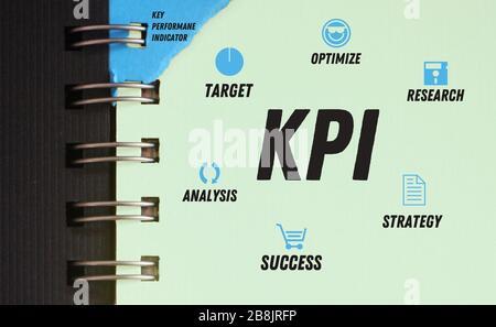 Le schéma de KPI dans le livre publicitaire, y compris la cible, optimise la stratégie de réussite de l'analyse de recherche. Carte d'esprit de gestion de projet. Concept commercial pour les présentations Banque D'Images