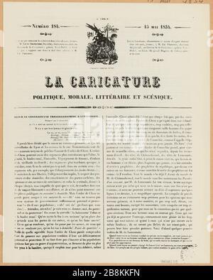 Articles relatifs aux événements de la rue Transnonain publiés à la Caricature, 15 mai 1834, n° 184 et le Charivari, 17 avril 1834, n° 107. (TF) Banque D'Images
