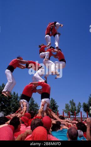 Caiguda, dos de set, Castellers de Barcelona, Catalogne, Europe Banque D'Images