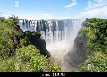 Vue panoramique sur le magnifique parc national des chutes Victoria du côté du Zimbabwe sur le continent africain. Chutes d'eau à proximité de la frontière avec la Zambie.