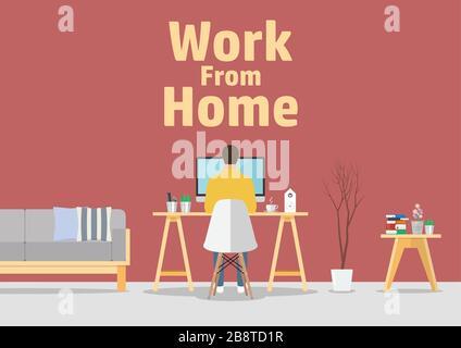 Travailler à domicile. Concept de quarantaine du coronavirus pandémique Covid-19. Homme travaillant sur ordinateur dans un lieu de travail moderne.
