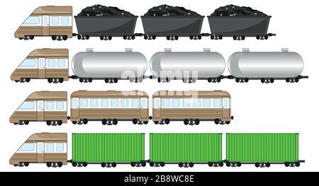Illustration vectorielle du train de marchandises avec réservoir et cargaison Banque D'Images