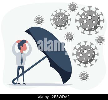 Parapluie protégeant les marchands immunisé roman coronavirus pneumonie infection Banque D'Images