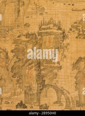 """""""Le sixième des neuf virages Le Mont Wuyi, Chine (image 3 de 5); Anglais: Corée, Korean, Dynastie Joseon (1392-1910), 17e siècle encre, défilement pendaison sur ramie chanvre ou de droit: 20 3/4 x 23 1/8 in. (52,71 x 58,74 cm); le mont: 48 3/4 x 25 in. (123,83 x 63,5 cm); rouleau presseur: 27 1/4 in. (69,22 cm) achetés avec les fonds du musée (M2000.15.20); l'art coréen date du 17ème siècle QS:P571,+1650-00-00T00:00:00Z/7; '"""