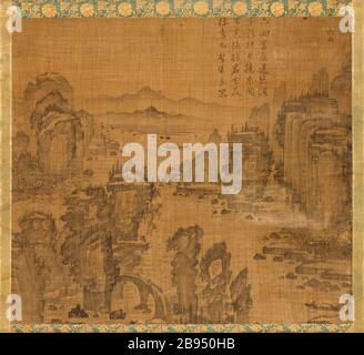 """""""Le sixième des neuf virages Le Mont Wuyi, Chine (image 1 de 5); Anglais: Corée, Korean, Dynastie Joseon (1392-1910), 17e siècle encre, défilement pendaison sur ramie chanvre ou de droit: 20 3/4 x 23 1/8 in. (52,71 x 58,74 cm); le mont: 48 3/4 x 25 in. (123,83 x 63,5 cm); rouleau presseur: 27 1/4 in. (69,22 cm) achetés avec les fonds du musée (M2000.15.20); l'art coréen date du 17ème siècle QS:P571,+1650-00-00T00:00:00Z/7; '"""