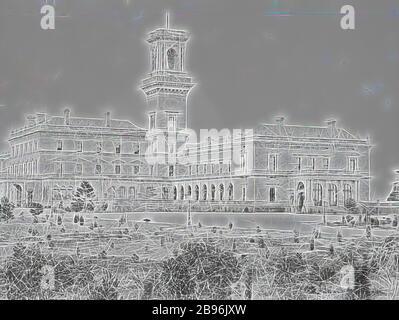 Négatif - Melbourne, Victoria, vers 1885, Government House., réinventé par Gibon, design de gai chaleureux de luminosité et de rayons de lumière radiance. L'art classique réinventé avec une touche moderne. La photographie inspirée du futurisme, qui embrasse l'énergie dynamique de la technologie moderne, du mouvement, de la vitesse et révolutionne la culture.