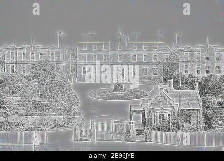 Négatif - Melbourne, Victoria, vers 1885, l'hôpital et les jardins de Melbourne, repensés par Gibon, design d'un brillant chaleureux de luminosité et de rayonnement de lumière. L'art classique réinventé avec une touche moderne. La photographie inspirée du futurisme, qui embrasse l'énergie dynamique de la technologie moderne, du mouvement, de la vitesse et révolutionne la culture.