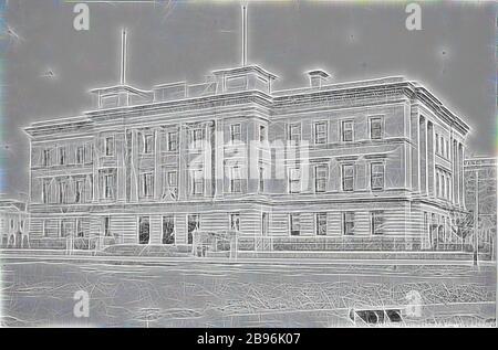 Négatif - Melbourne, Victoria, vers 1885, The Customs House., repensé par Gibon, design de gai gai chaleureux de luminosité et de rayons de lumière radiance. L'art classique réinventé avec une touche moderne. La photographie inspirée du futurisme, qui embrasse l'énergie dynamique de la technologie moderne, du mouvement, de la vitesse et révolutionne la culture.