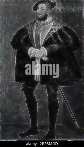 Attribué à David Frumerie, roi Henri VIII, Henri VIII, 1491-1547, roi d'Angleterre, peinture, portrait, Henry VIII d'Angleterre, 1667, huile sur toile, hauteur, 194 cm (76.3 pouces), largeur, 115 cm (45.2 pouces), réimaginé par Gibon, conception de chaleureux gai de luminosité et rayons lumineux rayonnant radiance. L'art classique réinventé avec une touche moderne. Photographie inspirée par le futurisme, embrassant l'énergie dynamique de la technologie moderne, le mouvement, la vitesse et révolutionnez la culture.