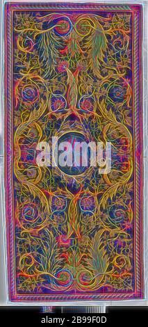 Tapis Savonnerie Savonnerie avec globe, globe avec tapis. Au milieu d'un fond noir est un médaillon ovale de beige, entouré par une couronne de feuilles de chêne, avec un globe bleu nuancé. Sur les deux côtés et l'intérieur d'une urne bleu à l'ocre jaune comme acanthuses bud et pied. Ils reposent sur une rosette de feuilles d'acanthe rose-rouge, qui change en deux branches symétriques en volutes, jaune, violet-blanc, jaune, rose-rouge et qui sont entourées d'vine boissons avec grappes de raisin. Sur les petits côtés, deux grandes volutes symétriques émerger d'une section centrale de rosaces d'acanthe en jaune, blanc et