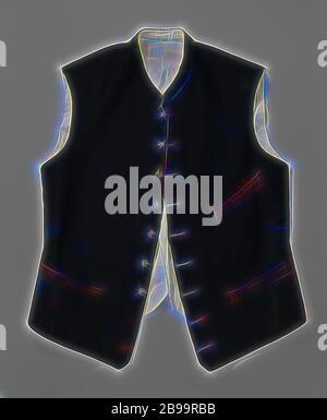 Gilet en tissu noir avec dos de coton blanc avec neuf boutons argentés avec W couronné, gilet en tissu noir très fin, avec dos de coton blanc, partie du costume officiel. Modèle sans manches court, col montant. Les fronts se sont légèrement aggravées avec un point. Neuf boutons argentés avec un W couronné en relief., anonyme, la Haye (éventuellement), c. 1905, tissu, coton (textile), l 57 cm, repensé par Gibon, design de chaleureux gai lumineux et rayonnant de lumière. L'art classique réinventé avec une touche moderne. Photographie inspirée par le futurisme, embrassant l'énergie dynamique de