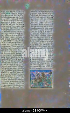 Moïse recevant les comprimés de la Loi, Gand, Belgique, vers 1475, couleurs de Tempera, feuille d'or, et peinture d'or sur parchemin, feuille: 43,8 x 30,5 cm (17 1,4 x 12 po, reimaginé par Gibon, design de glanissement chaleureux et gai de luminosité et de rayonnement de lumière. L'art classique réinventé avec une touche moderne. La photographie inspirée du futurisme, qui embrasse l'énergie dynamique de la technologie moderne, du mouvement, de la vitesse et révolutionne la culture. Banque D'Images