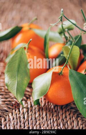 Mandarine ou clémentine avec des feuilles de palmier vertes sur fond de rotin. Espace de copie. Concept de Noël ou de nouvel an.