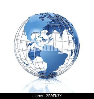 Globe terrestre stylisé en relief avec grille métallique, vue Amériques. Banque D'Images