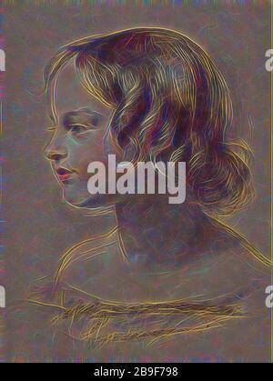 Portrait d'une jeune fille, Sir Edwin Henry Landseer (Anglais, 1802 - 1873), Grande-Bretagne, vers 1840 - 1845, craie noire et blanche et pastel sur papier de bouffée, 43,3 x 28,6 cm (17 1,16 x 11 1,4 po, repensé par Gibon, conception d'un brillant chaleureux et joyeux de la luminosité et des rayons de lumière radiance. L'art classique réinventé avec une touche moderne. La photographie inspirée du futurisme, qui embrasse l'énergie dynamique de la technologie moderne, du mouvement, de la vitesse et révolutionne la culture. Banque D'Images