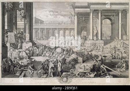 L'Académie des sciences et des beaux-arts dédiée à Roy Sébastien le Clerc (1637-1714). 'L'Académie des Sciences et des Beaux-Arts'. Gravité. Paris, musée Carnavalet. Banque D'Images